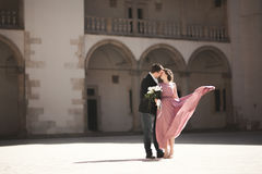 Free Beautiful Couple, Man, Girl With Long Pink Dress Posing In Old Castle Near Columns. Krakow Vavel Royalty Free Stock Images - 74792429