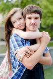 Beautiful couple man & woman embracing outdoors Royalty Free Stock Photo