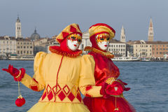 Beautiful couple of masks at carnival in Venice Royalty Free Stock Photo