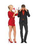 Beautiful couple with megaphone Royalty Free Stock Images
