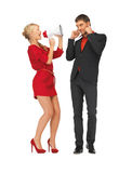 Beautiful couple with megaphone Royalty Free Stock Photography