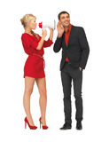 Beautiful couple with megaphone Stock Photography