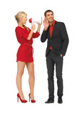Beautiful couple with megaphone Royalty Free Stock Photo
