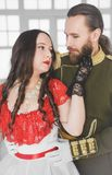 Beautiful couple man and woman in medieval costumes royalty free stock images