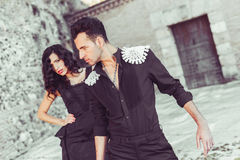 Beautiful couple, models of fashion, wearing spanish clothes Royalty Free Stock Images