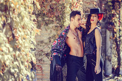 Beautiful couple, models of fashion, wearing spanish clothes Royalty Free Stock Photos