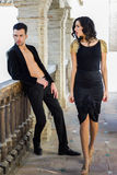 Beautiful couple, models of fashion, wearing spanish clothes Royalty Free Stock Image