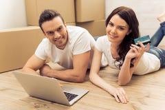 Beautiful couple moving Stock Photo