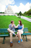 Beautiful couple near the Sacre-Coeur Stock Images