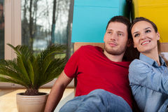 Beautiful couple in new house Royalty Free Stock Photography