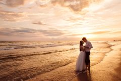 A beautiful couple of newlyweds, the bride and groom walking on the beach. Gorgeous sunset and sky. Wedding dresses, a. White luxury dress for a girl. Family royalty free stock photos