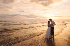 A beautiful couple of newlyweds, the bride and groom walking on the beach. Gorgeous sunset and sky. Wedding dresses, a. White luxury dress for a girl. Family stock images