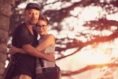 Beautiful couple outdoors Stock Photos