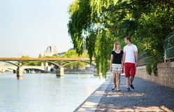Beautiful couple in Paris on a summer day Stock Photography