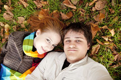 Beautiful couple in the park. Outdoor shot Royalty Free Stock Photos