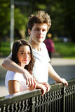 Beautiful couple In park. Together on overcast day Stock Photography