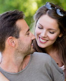 Beautiful couple at the park Stock Photography