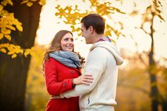 Beautiful couple in park. Beautiful couple in love at autumn in park Royalty Free Stock Photos