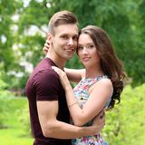 Beautiful couple in the park Royalty Free Stock Images