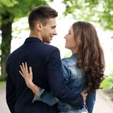 Beautiful couple in the park. Cute, young couple in the park Royalty Free Stock Photography