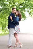 Beautiful couple in the park. Cute, young couple in the park Royalty Free Stock Images