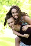 Beautiful couple in the park. Cute, young couple in the park Stock Photography