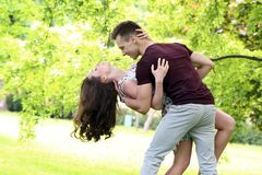 Beautiful couple in the park Royalty Free Stock Photos