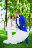 Beautiful couple in the park wedding. The beautiful couple in the park wedding Royalty Free Stock Images