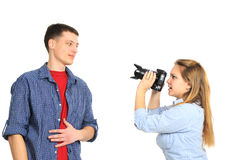 Beautiful couple photographing Royalty Free Stock Photography