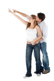 Beautiful couple pointing Royalty Free Stock Photo
