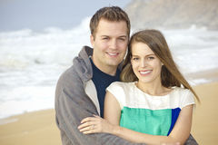 Beautiful Couple Portrait on the Beach royalty free stock photo