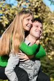 Beautiful couple portrait smiling outdoors Stock Image