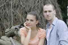 Beautiful couple posing outside Royalty Free Stock Photos