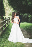 Beautiful couple posing in park. Honeymoon newlywed in love holding hands Royalty Free Stock Photo