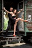 Beautiful couple of professional artists dancing Royalty Free Stock Image