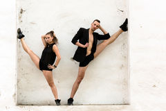 Beautiful couple of professional artists dancing Stock Images