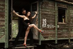 Beautiful couple of professional artists dancing Royalty Free Stock Photography
