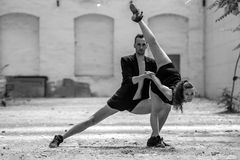 Beautiful couple of professional artists dancing Royalty Free Stock Photo