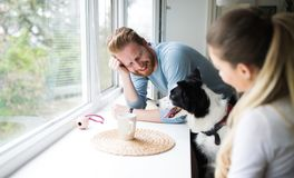 Beautiful couple relaxing at home and loving their dog Stock Photography