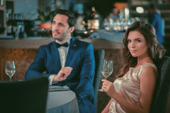 Beautiful couple in a restaurant.  stock images
