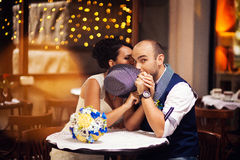 Beautiful couple in the restaurant, hat Royalty Free Stock Photo