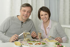 Beautiful couple in restaurant Royalty Free Stock Image