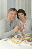 Beautiful couple in restaurant Royalty Free Stock Photo