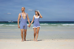 Beautiful couple in retro swimsuit Royalty Free Stock Photo