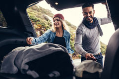 Beautiful couple on a road trip Stock Photography