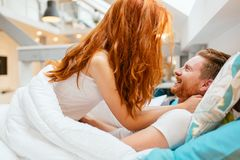 Beautiful couple romance in bed Stock Photography