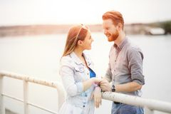 Beautiful couple`s romance stock photo