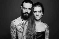 Beautiful couple.sexy woman and handsome man. Beautiful couple.sexy women and handsome man.lovely boy and girl with tattoo stock photo