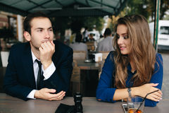 Beautiful couple sitting in the cafe Stock Photo