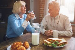 Beautiful couple are sitting at the table in the kitchen and dri. Nking milk. Also there are some sandwiches and croissans on the plates. People look to each Stock Photos